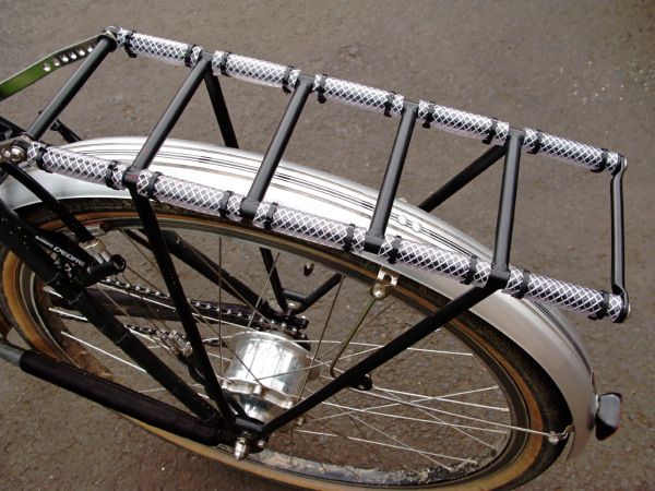 Rear rack covered in tube protection