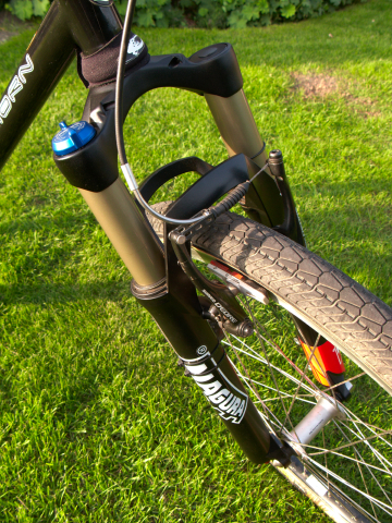 Close up of front Magura Odur forks